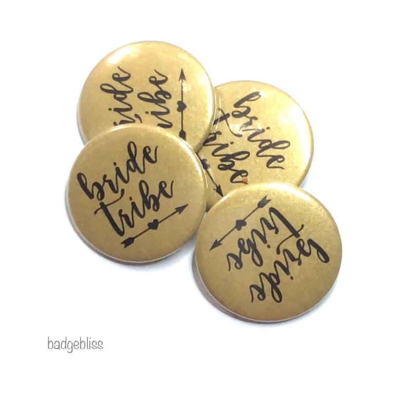 Bride Tribe gold hen party button badge