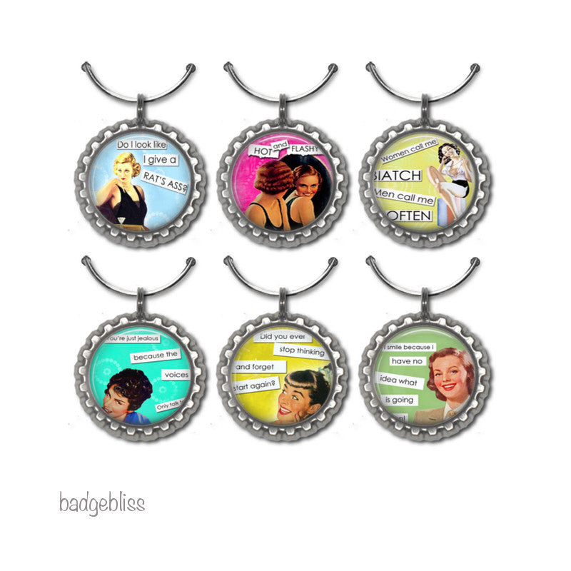 Wine glass charms Sassy ladies