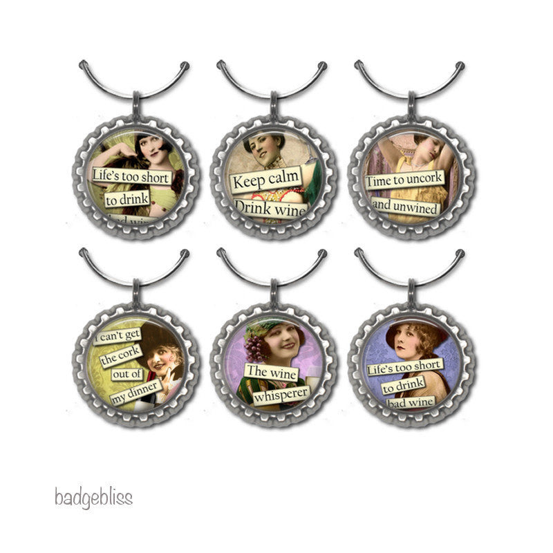 Wine glass charms Retro altered art - Badge Bliss