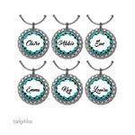 Wine glass charms personalised Polka dot - Badge Bliss