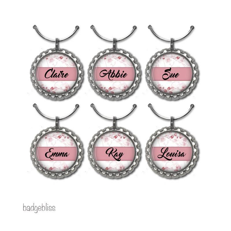 Pink floral personalised wine glass charm - badge-bliss