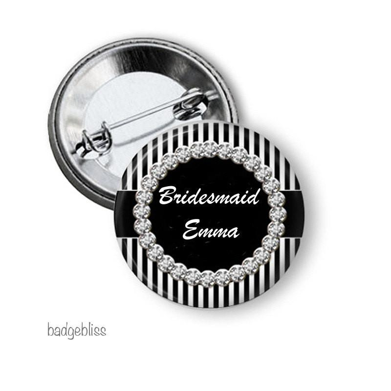 Black and white Hen party button badge