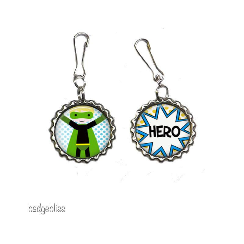 Superhero zipper pulls, bag charms - Badge Bliss
