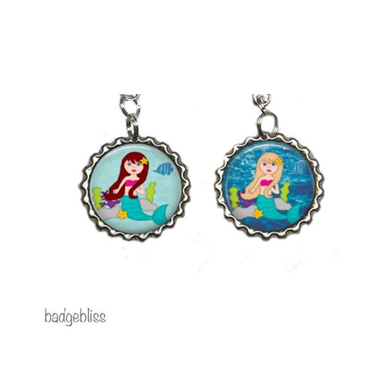 Mermaid zip pulls, bag charms - badge-bliss