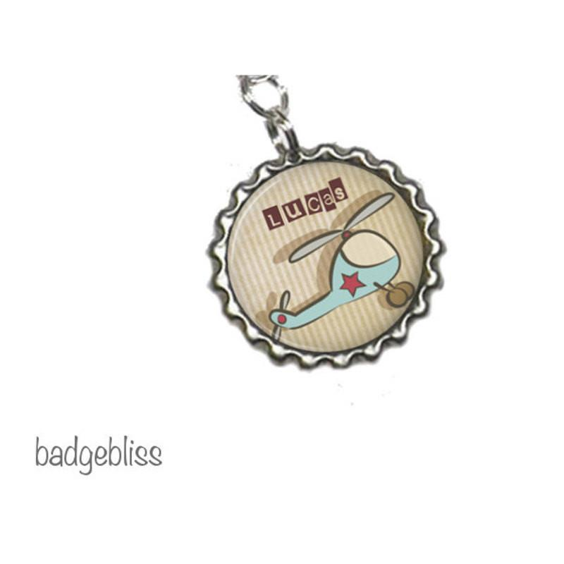 Helicopter personalised zipper pull, bag charm - badge-bliss