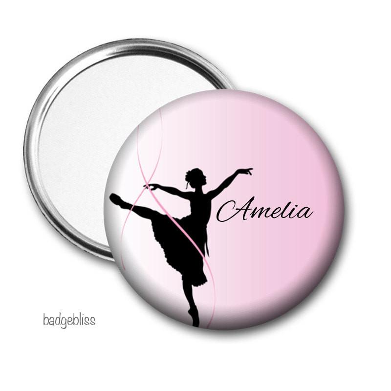 Personalised Pocket mirror Ballerina - badge-bliss