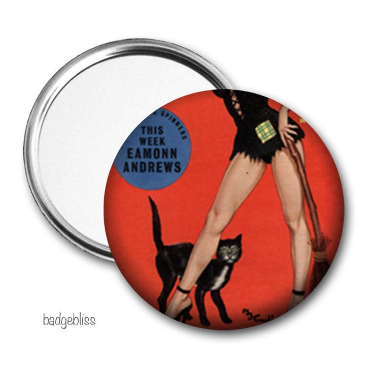 Black Cat Pocket mirror - badge-bliss
