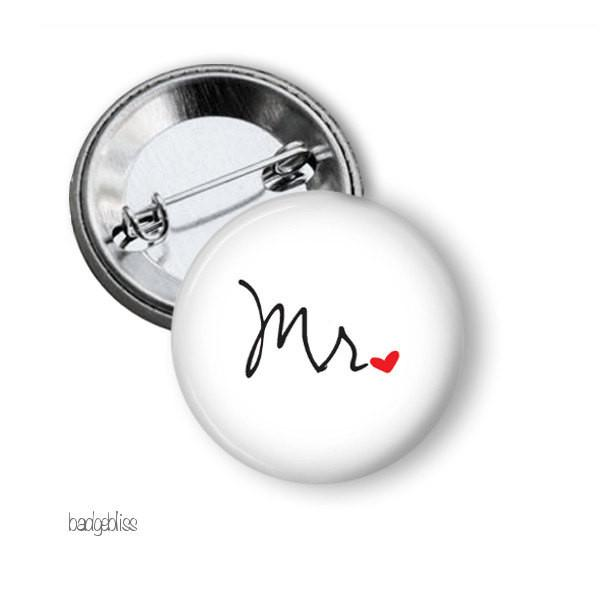 Mr or Mrs hen party button badge - badge-bliss