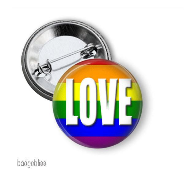 Rainbow badge Love button badge - badge-bliss