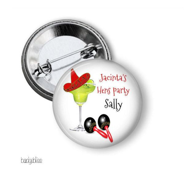 Hen party button badge Mexican theme