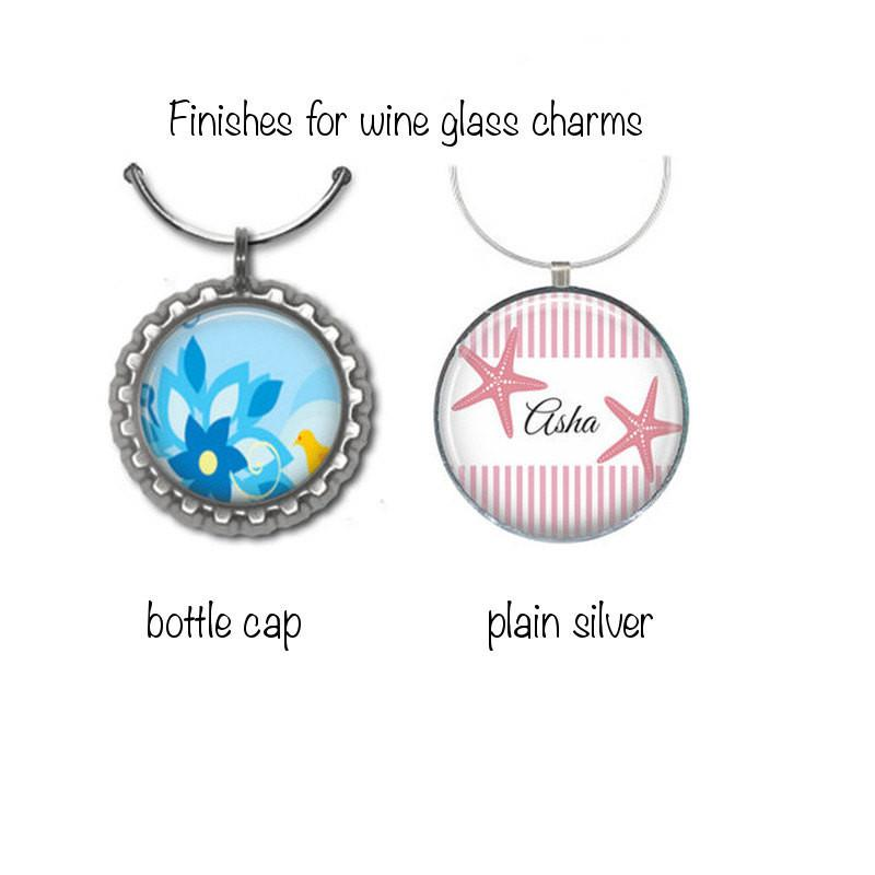 Personalised black damask wine glass charms - Badge Bliss