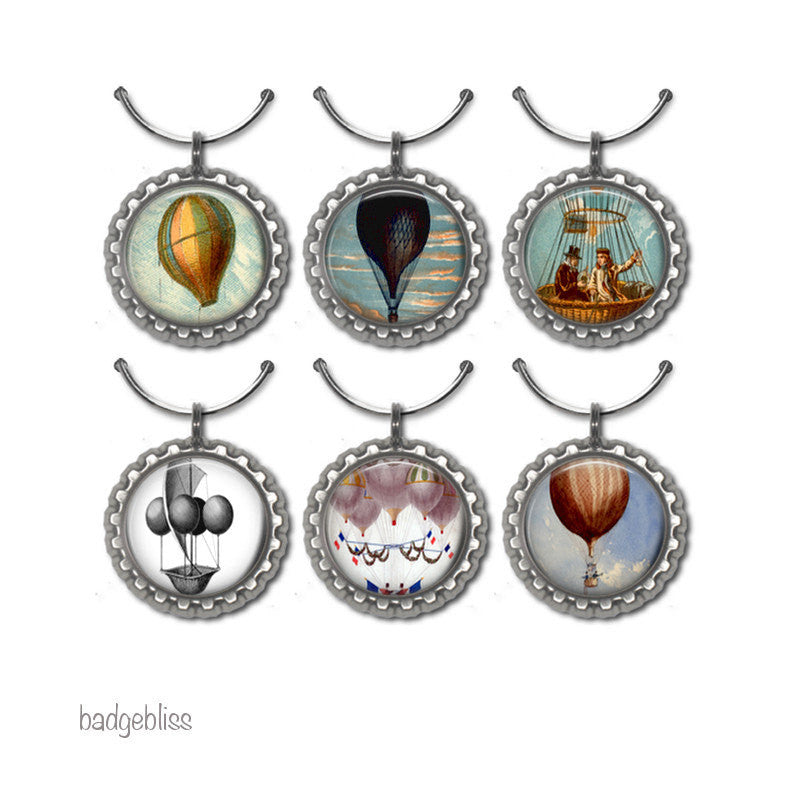 Wine glass charms Hot Air balloons - Badge Bliss