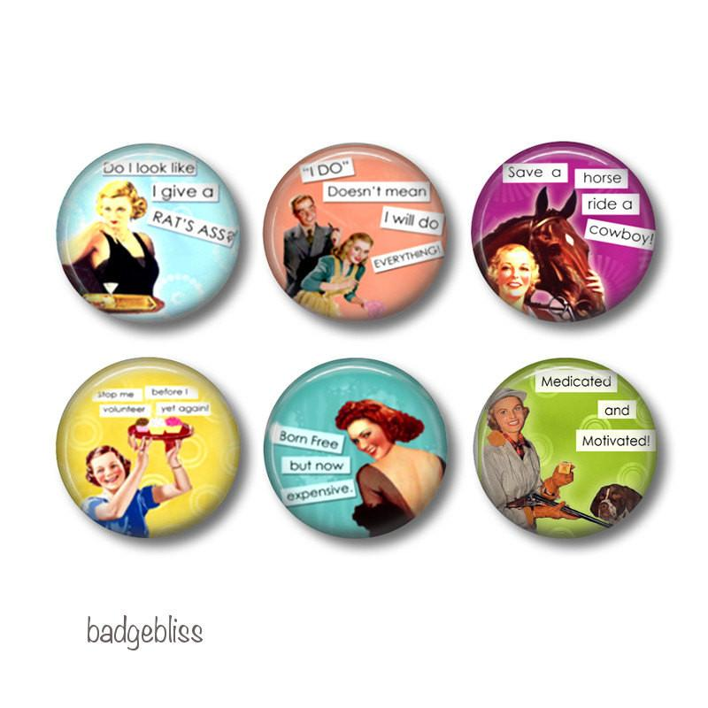 Sassy Ladies badges or fridge magnets - Badge Bliss