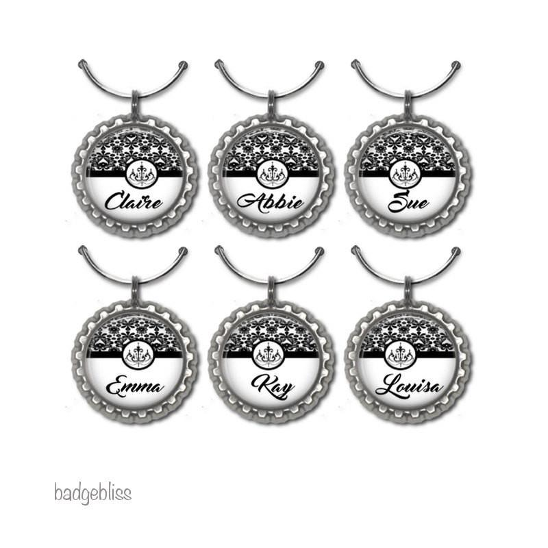 Personalised black damask wine glass charms - badge-bliss