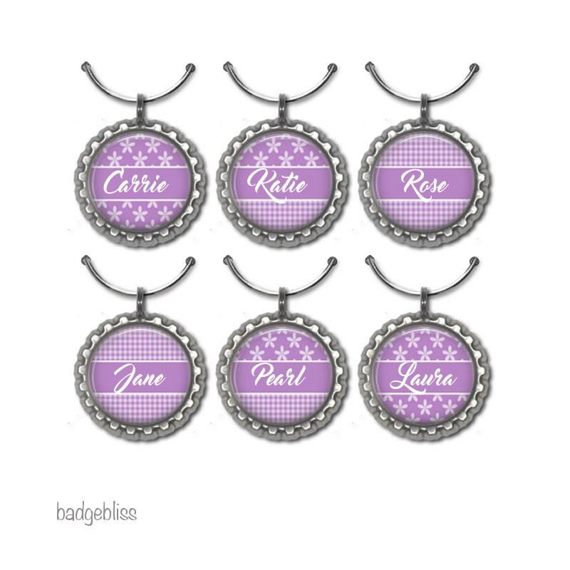 Pink daisy personalised wine glass charms - badge-bliss