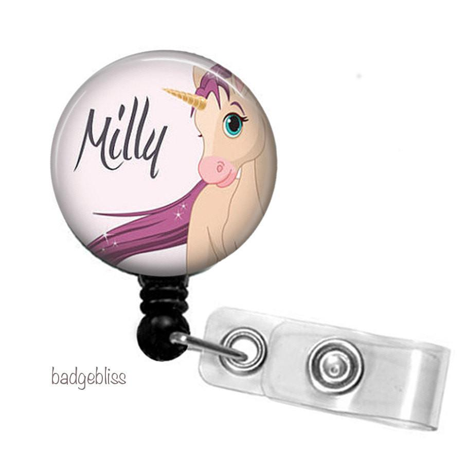 Unicorn badge reel personalised with your name.