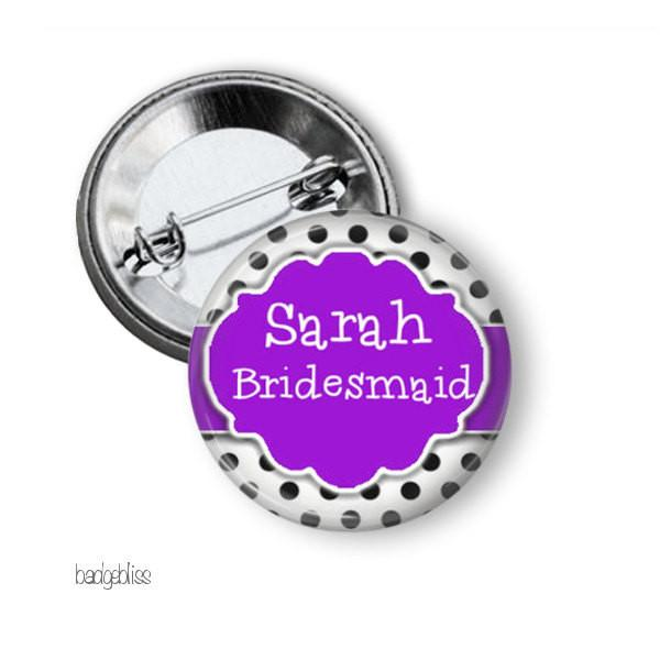Black polka name badge