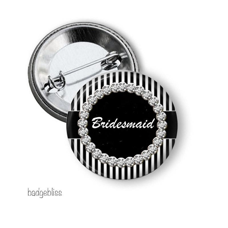 Black and white Hen party button badge - badge-bliss