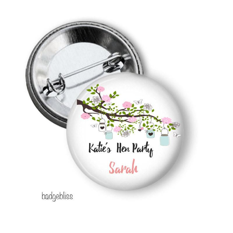 Mason jar hen party  button badge - Badge Bliss
