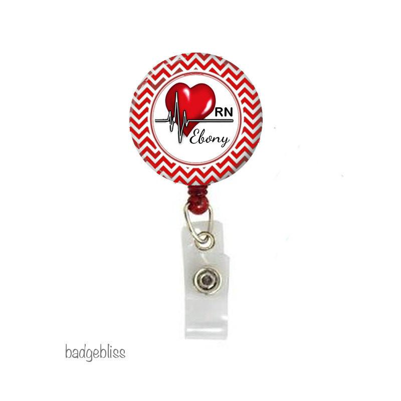 Heart Nurse retractable badge reel. - Badge Bliss
