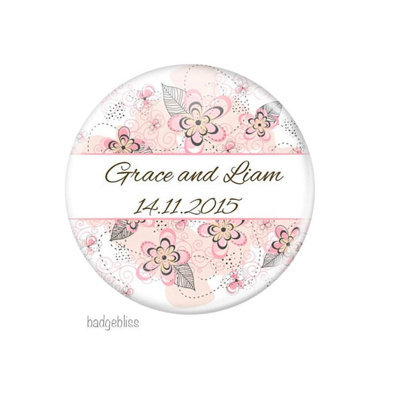 Pink floral wedding favour magnet - badge-bliss
