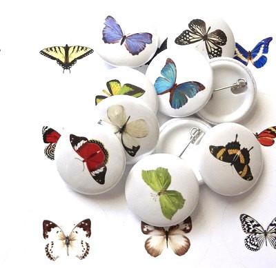 Button badges Butterfly