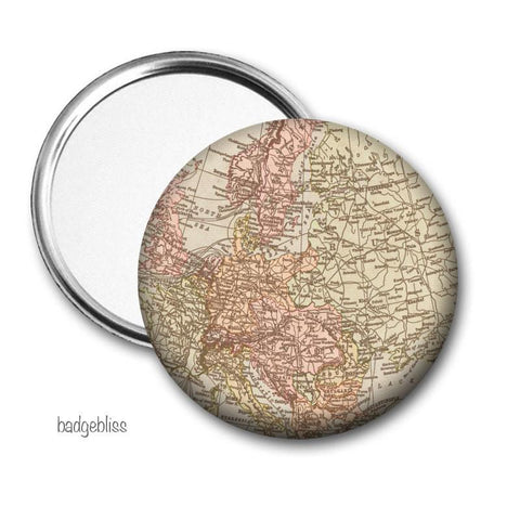 Vintage map pocket mirror - Badge Bliss