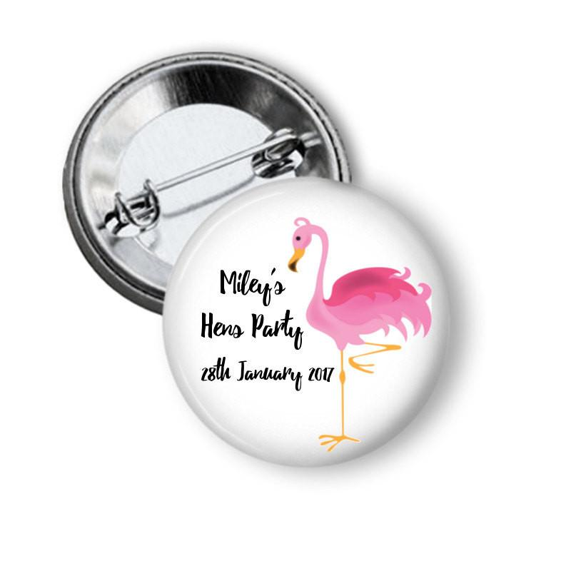 Flamingo hen party button badge