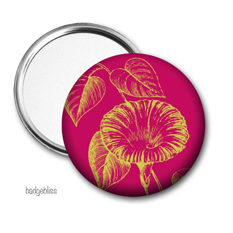 Red floral Pocket mirror - badge-bliss