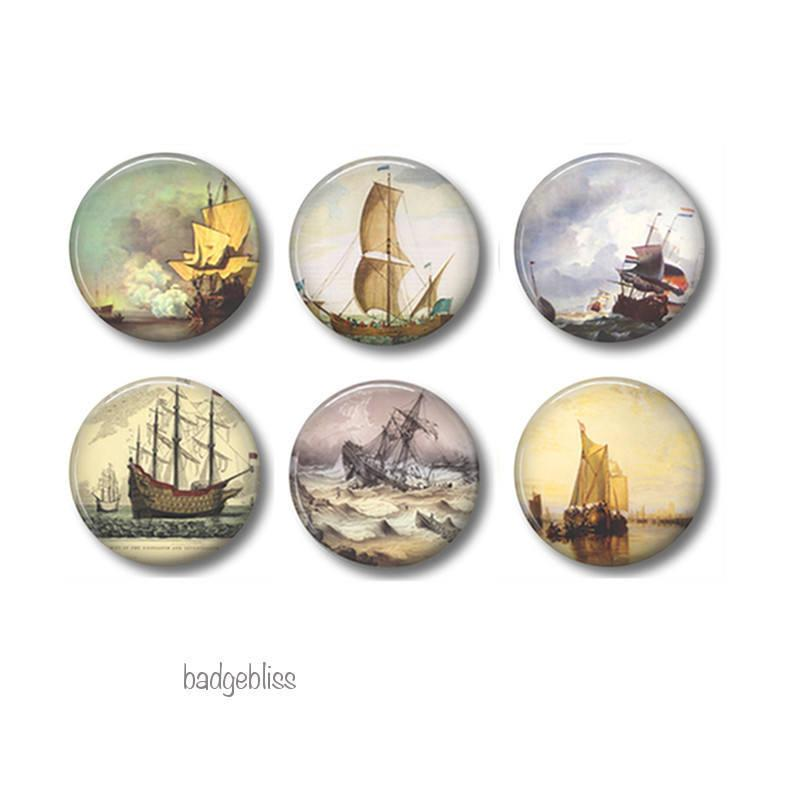 Vintage ship badges or fridge magnets - Badge Bliss