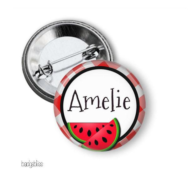 Watermelon badge or magnet - badge-bliss