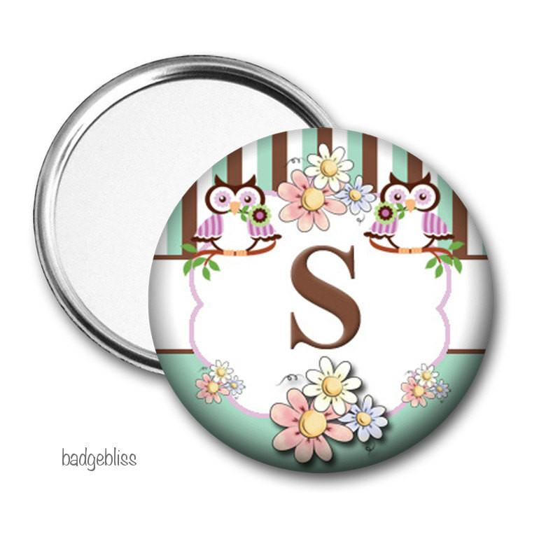 Owl Pocket mirror - badge-bliss