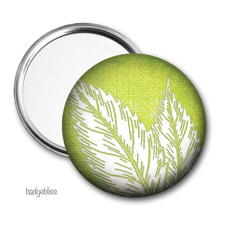 Green leaf print pocket mirror - badge-bliss