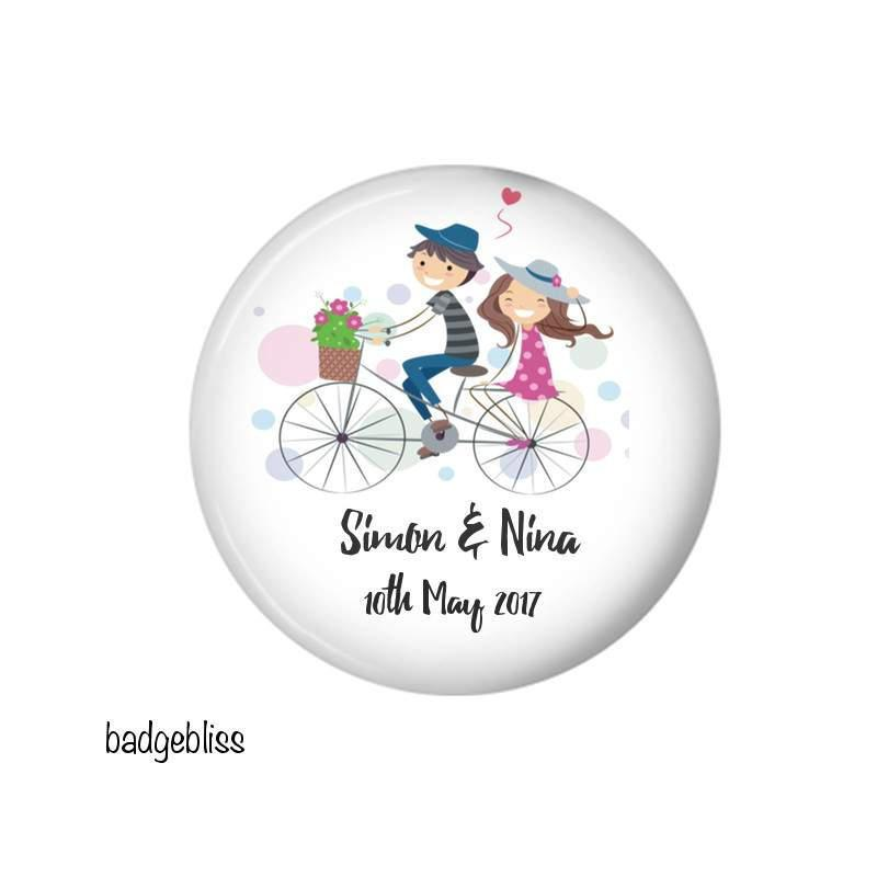 Personalised Bicycle favour magnet - Badge Bliss