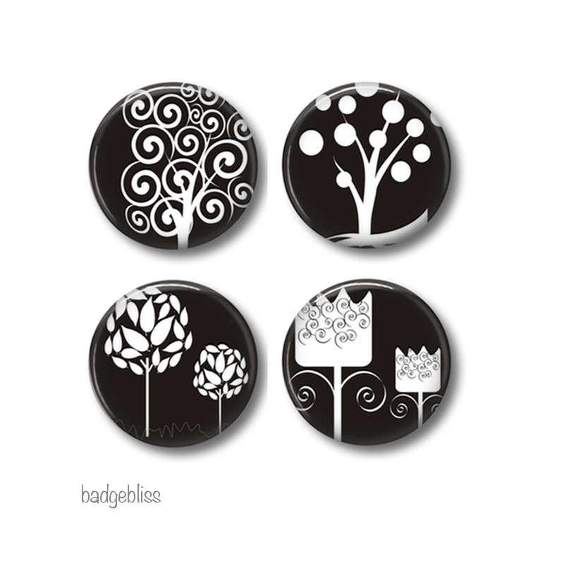 Magnets, badges Black and white - badge-bliss