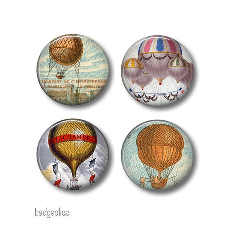 Hot Air Balloons magnets or button badges - badge-bliss