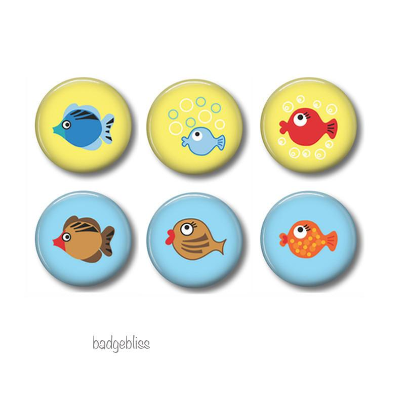 Fish magnets or badges - Badge Bliss