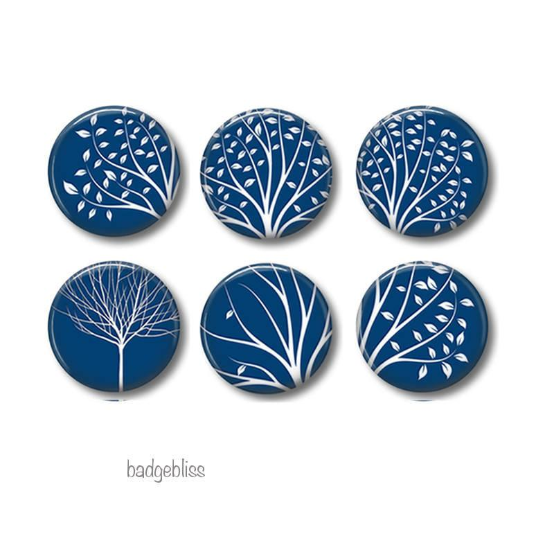 White tree badges,magnets - badge-bliss