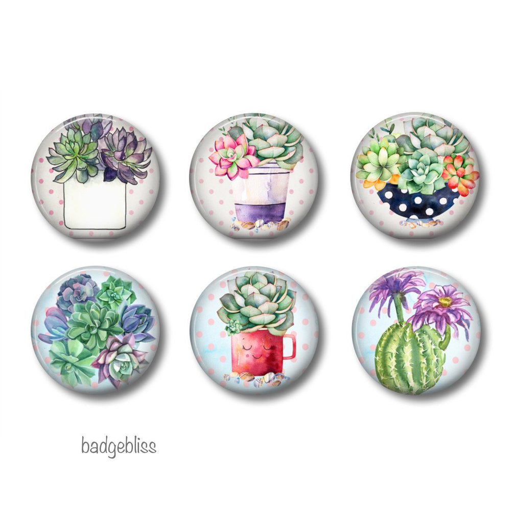 Cactus fridge magnets, - badge-bliss