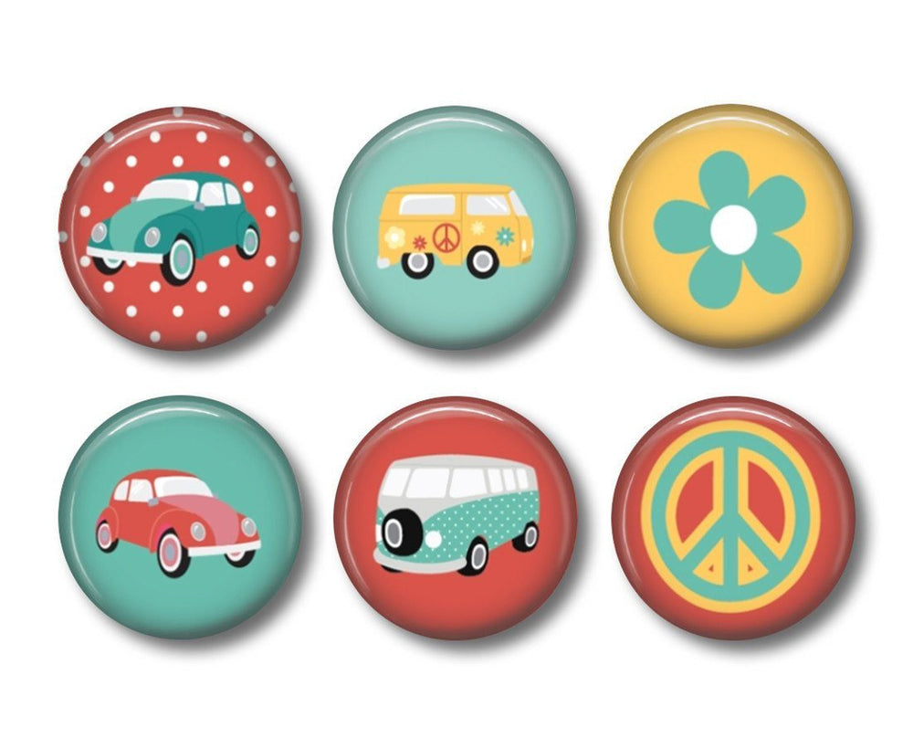 Retro Car badges or fridge magnets