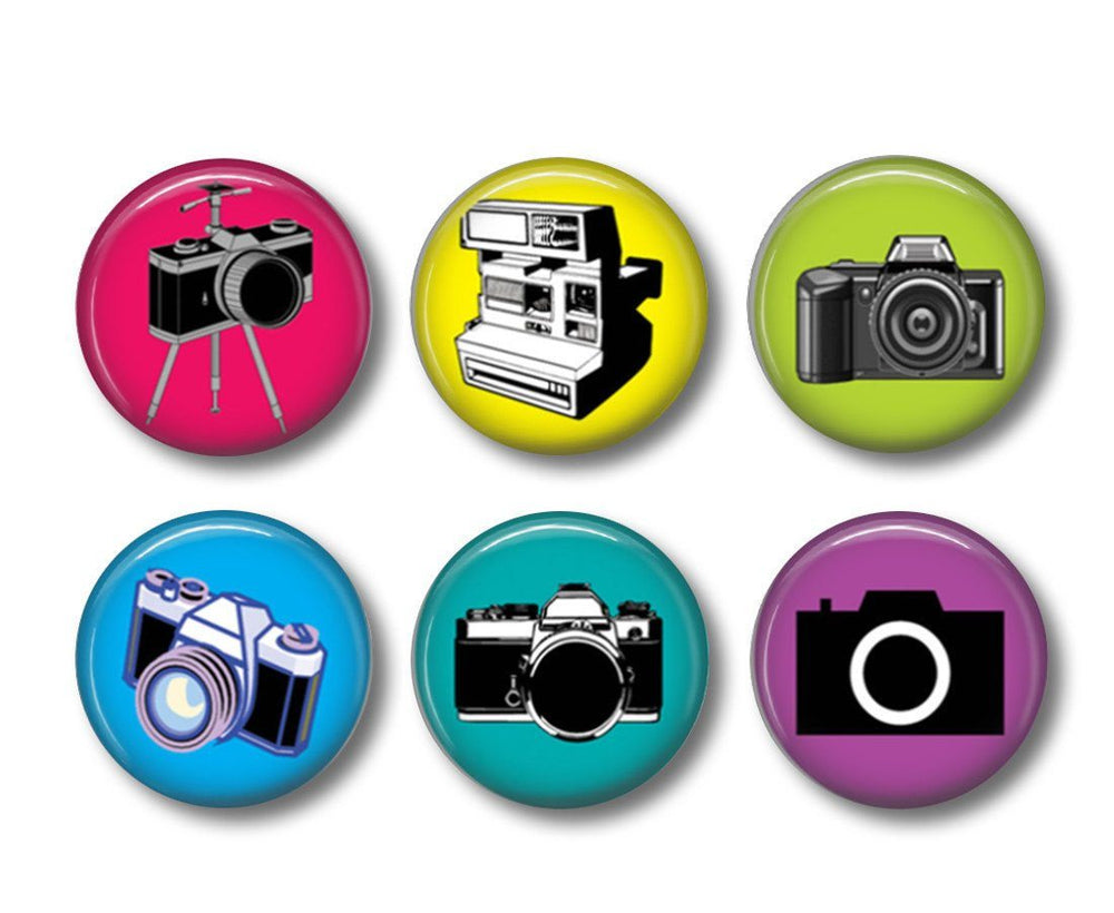 Cameras button badges or fridge magnets