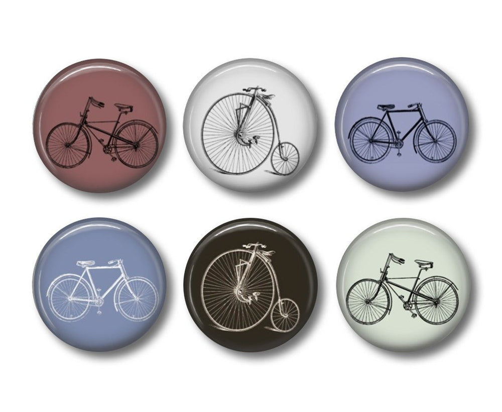 Bicycle button badges or fridge magnets - Badge Bliss