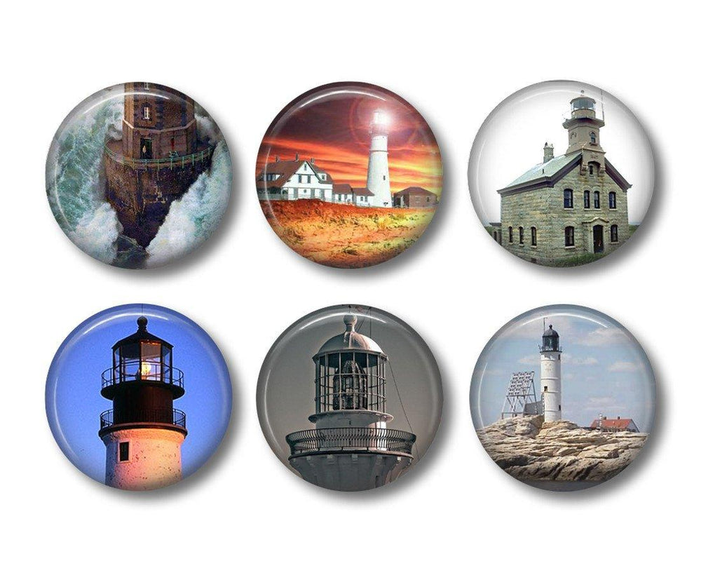 Lighthouse pinback button badges or fridge magnets - badge-bliss