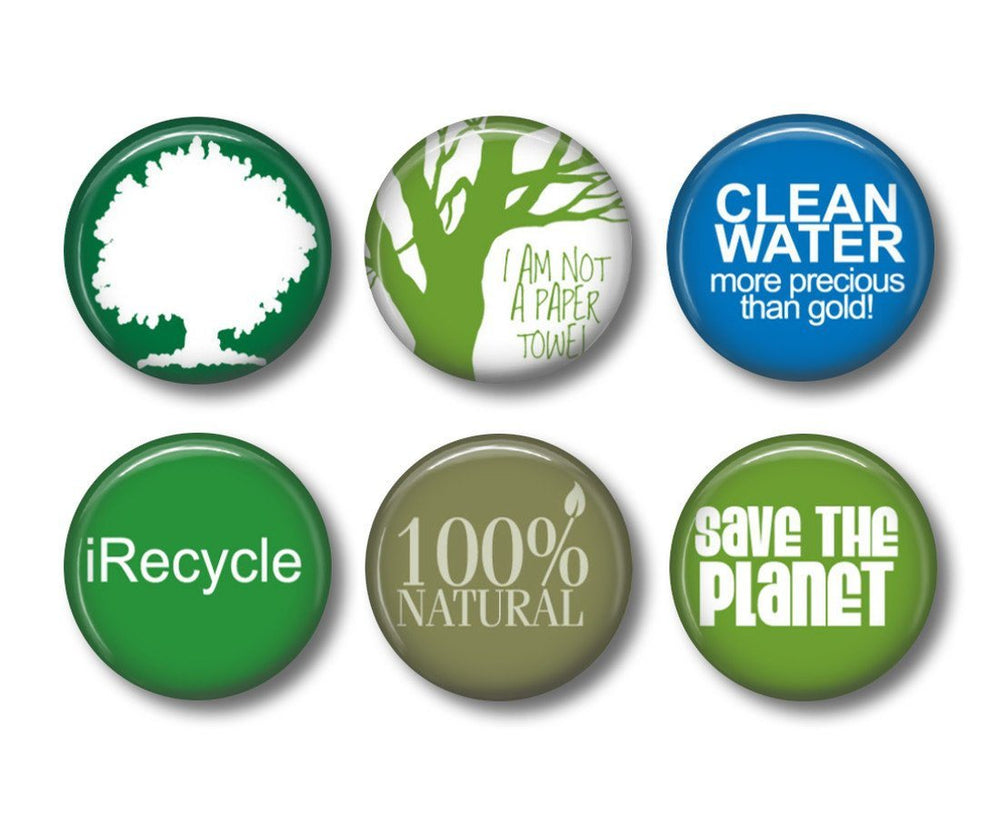 Recycle magnets badges or fridge magnets - badge-bliss