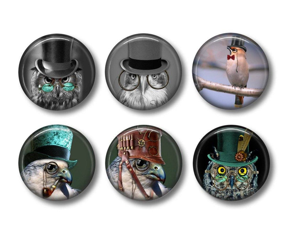 Steampunk Birds   fridge magnets