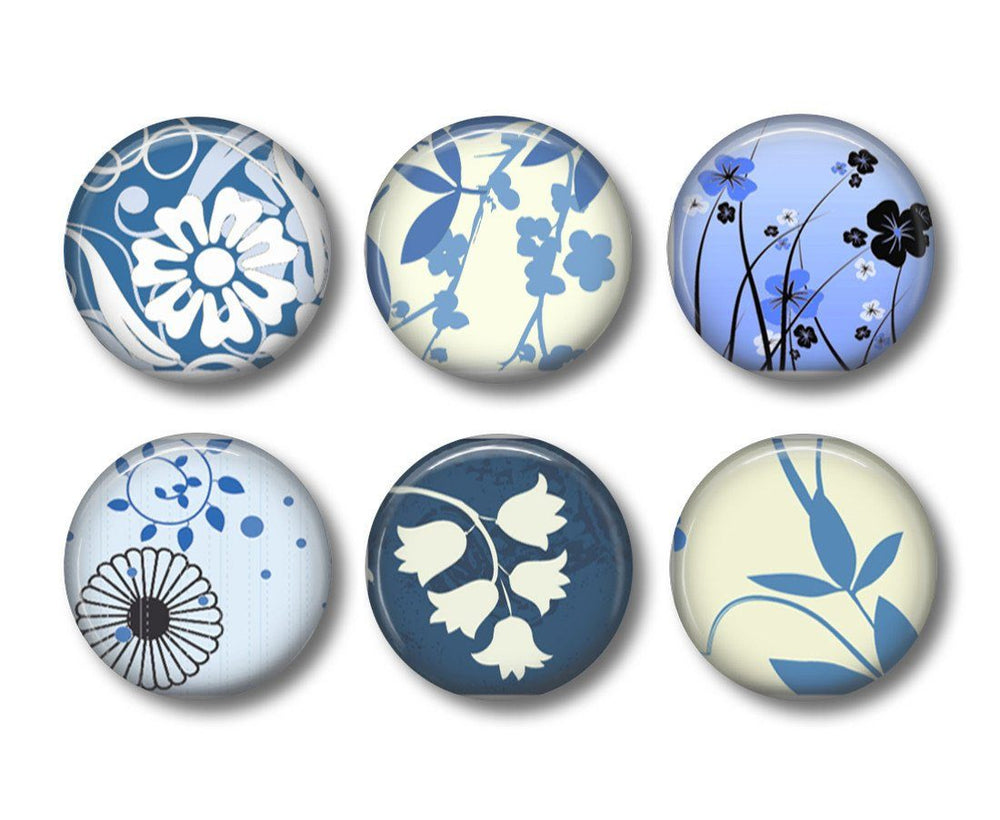 Blue Floral fridge magnets