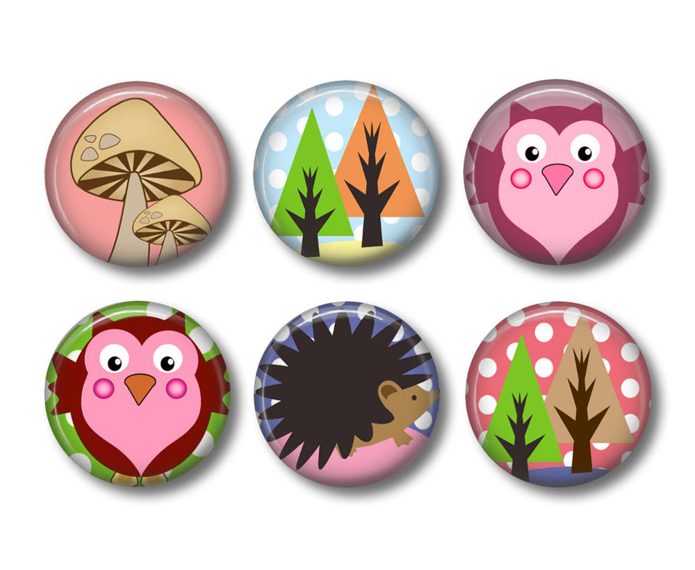 Woodland Animal badges or fridge magnets - badge-bliss