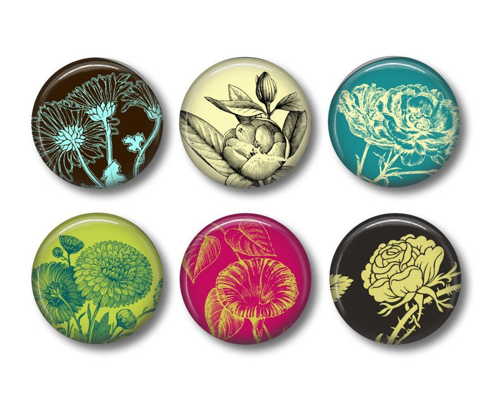 Botanic print badges or fridge magnets - badge-bliss