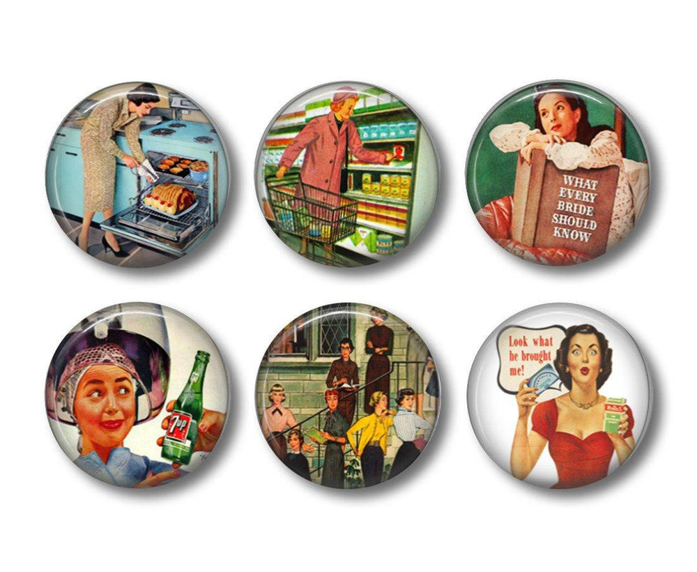 Ladies Retro button badges or fridge magnets - badge-bliss