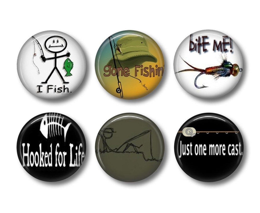 Fishing badges or fridge magnets - badge-bliss